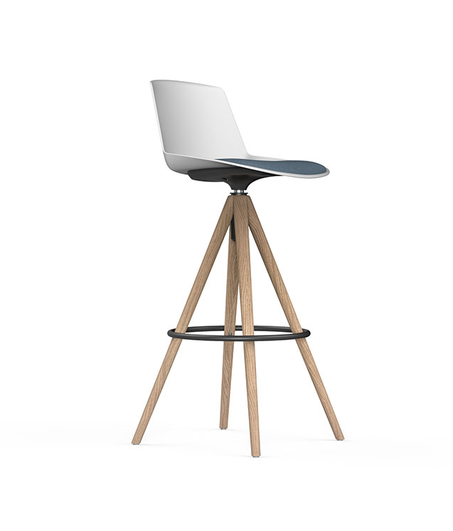 SERIE 40 - Stool with 4 pyramidal wooden legs